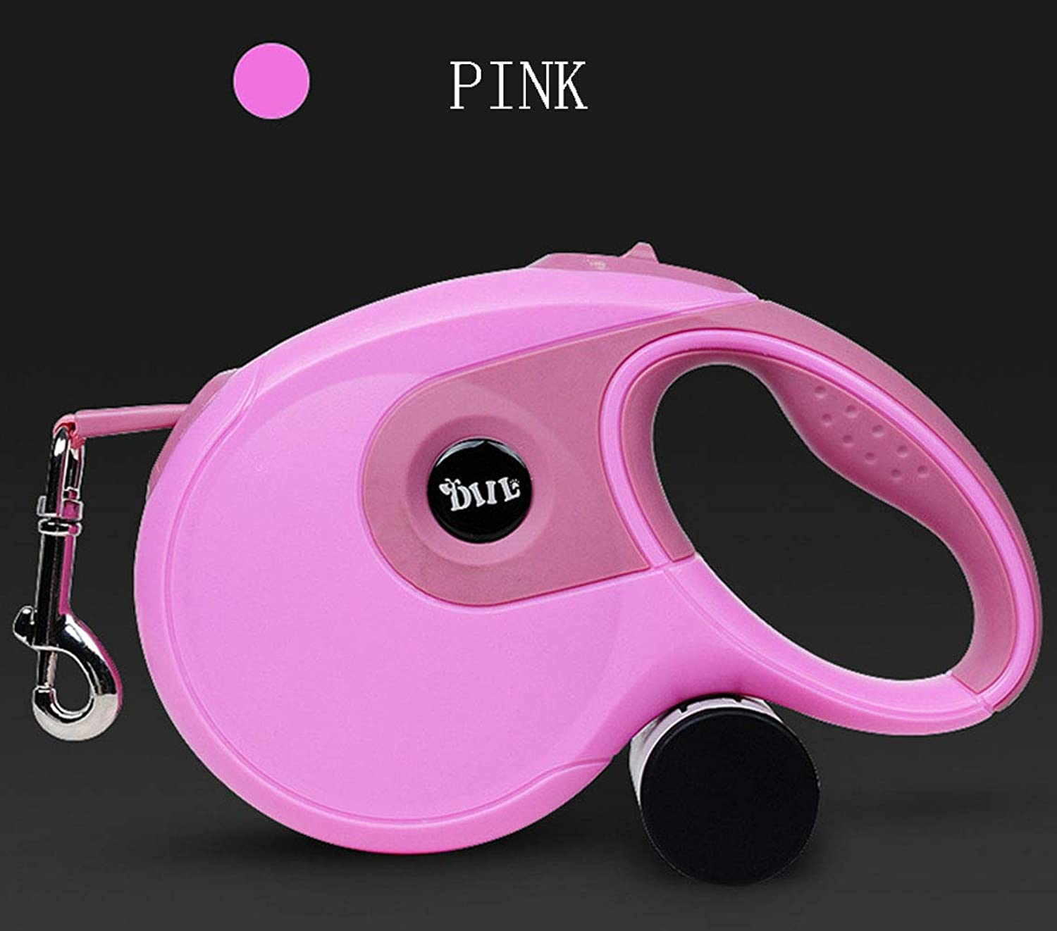 Retractable Dog Leash Medium Large Breed Tangle Free One Button Break Lock Waste Dispenser and Bags Included Pet Traction Rope Training Walking 8M,Pink