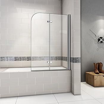 110x140cm Pare baignoire pivotant 180°, porte de baignoire, paroi de baignoire, 6mm verre trempé anticalcaire