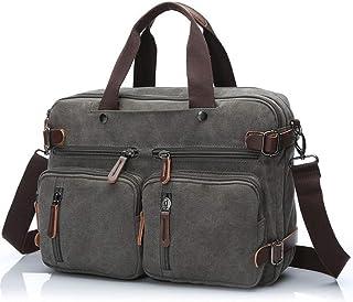 Djyyh Men Canvas Bag Leather Briefcase/Travel Suitcase/Messenger Shoulder Tote/Back Handbag/Large Casual Business Laptop Pocket (Color : Gray)