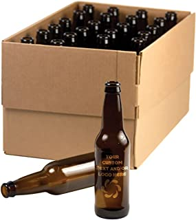 Case of 24 Customized 3D Laser Engraved Personalized 12 oz Amber Custom Beer Bottle - Perfect for Home Brew, Weddings, Anniversaries, Holidays, Breweries