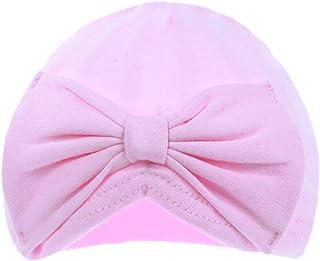 Aelstores, Gorro de bebé para niñas con diseño de Lazo de Turbante, Tacto Suave, para niños, 100% algodón, 0-6 Meses