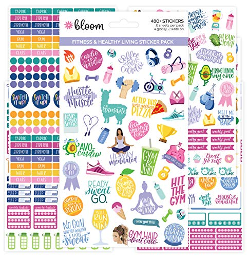 bloom daily planners Health Wellness and Fitness Planner Stickers - Variety Sticker Pack - Six Sticker Sheets Per Pack