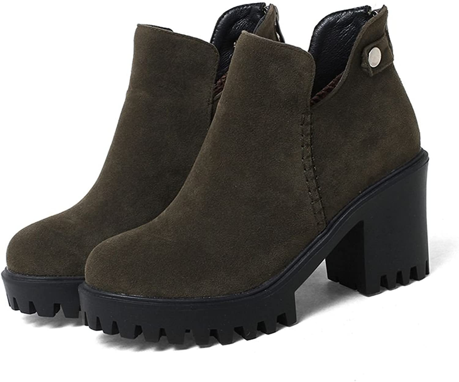 Kaloosh Women's High Heels Faux Suede Chuncy Heel Martens shoes British Style Round Toe Boots