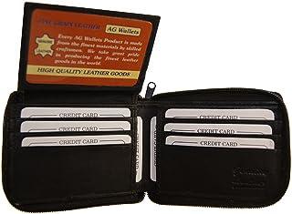 メンズレザーZip AroundウォレットオーガナイザーIDクレジットカード二つ折りフラップブラック