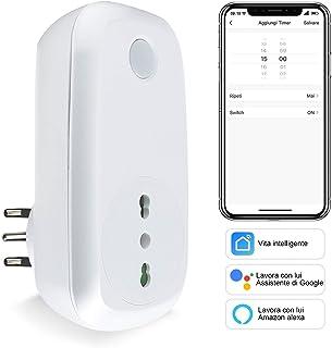 Presa Intelligente Wifi Italiana Smart Plug Spina Energy Monitor 16A 3600W, EXTRASTAR Funzione di Timer Compatibile con Am...