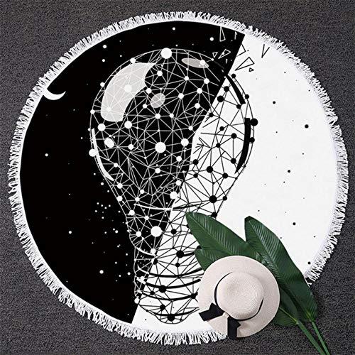 Relovsk Wandtapijt, tuinperen, rond, badhanddoek, zwart-wit doek, grote volwassenen, dag en nacht met zon- en maanmat 150cmx150cm