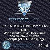 PROTOMAX Nanoversiegelung-Spray fürs Auto: Windschutzscheibe, Glasscheibe, Heckscheibe, Seitenscheibe, Rückspiegel, Außenspiegel (20 ml)