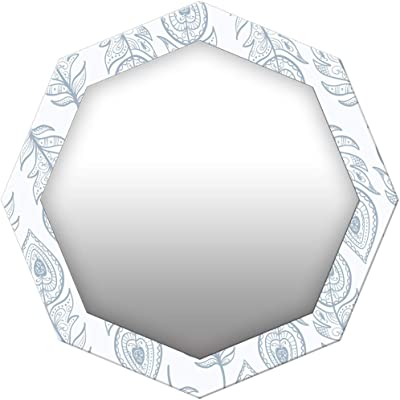 999Store Printed White and Grey Leaves Octagon Mirror (MDF_24X24 Inch_Multi)