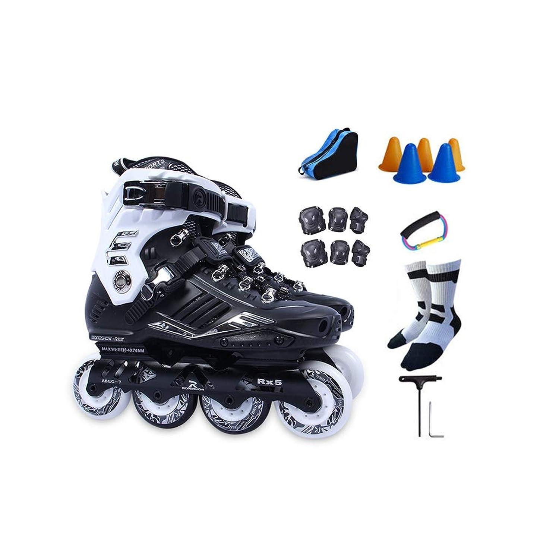 ローラーブレード, インラインスケート、 成人用4輪ローラースケート 単列スケート 初心者 ファンシーローラースケート フルセット 2色,ホイールが点滅しない (Color : Black, Size : 35 EU/4 US/3 UK/22.5cm JP)
