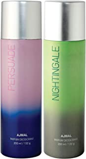 Ajmal Persuade & Nightingale Deodorant Combo pack of 2 Deodorants 200 ml each (Total 400ML) for Men & Women + 2 Parfum Tes...