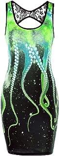 HGWXX7 Women Summer Sleeveless Cut Out Octopus Print Lace Stitching Vest Dress
