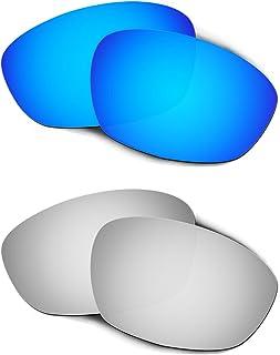 Hkuco Plus Mens Replacement Lenses For Oakley Straight Jacket (2007) Blue/Titanium Sunglasses
