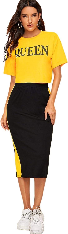 MakeMeChic Women's 2 Piece Letter Print Short Sleeve Tee and High Waist Skirt Set Suit