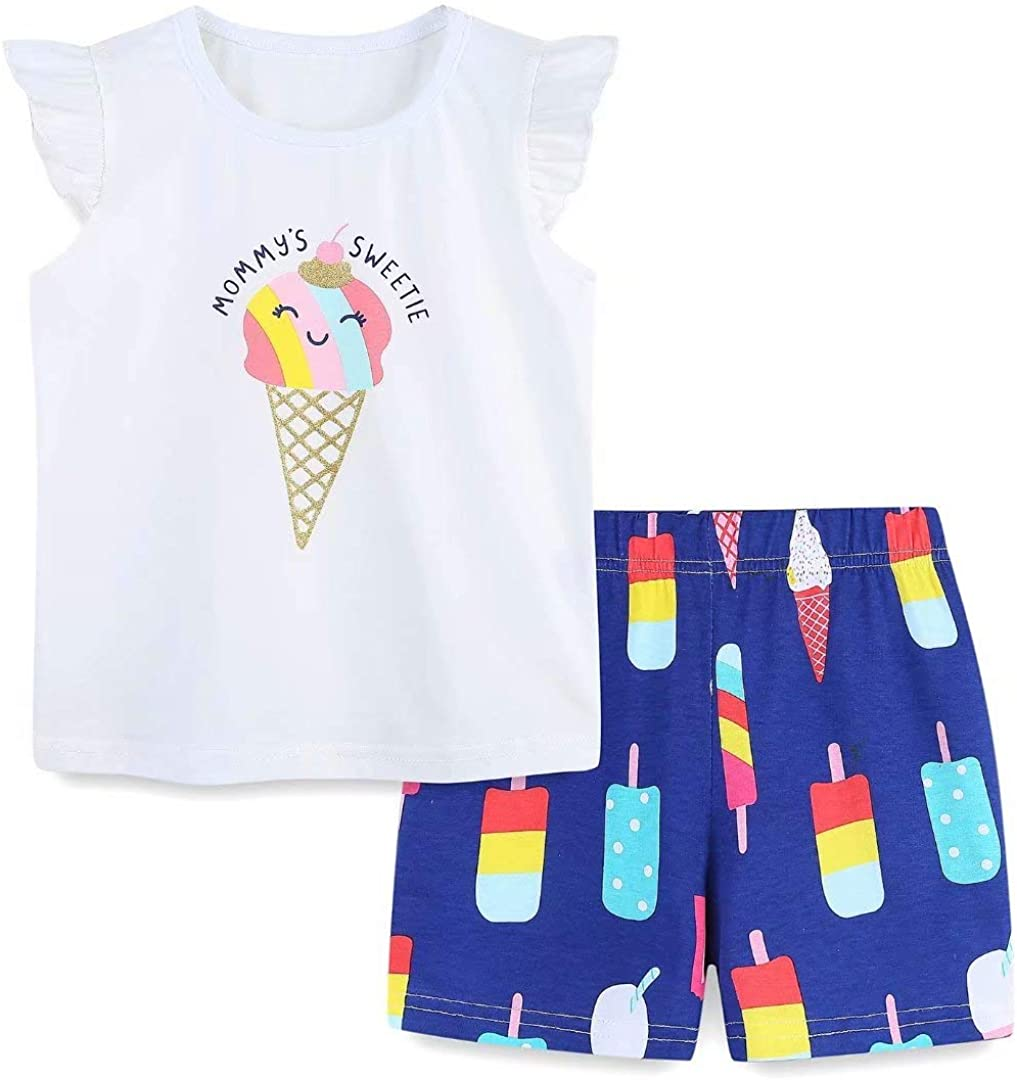 Toddler Girl's Cotton Short Sleeve T-Shirt and Shorts Outfit Set