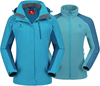 Women's Ski Jacket Winter Jacket Waterproof 3 in 1 Mountain Coat Windproof Hooded with Inner Warm Fleece Coat