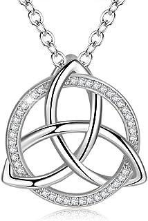 DTPsilver Pendentif Femme en Argent Fin 925 avec Oxyde de Zirconium et un petit grenat en forme de Trinit/é Celtique
