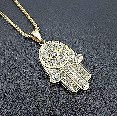 BACKZY MXJP Collar para Niñas Declaración Maxi Buda Evil Eye Magic Glass Cabochon Colgante Collar Simple Rectángulo Moda Collar Simple Longitud 50 Cm Collar