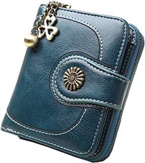 Women's RFID Blocking Leather Short Small Wallet Coin Card Holder Organizer