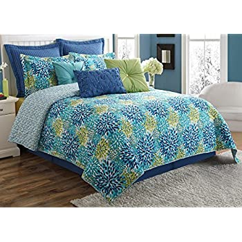 Lapis Turquoise Fiesta Dash Reversible Quilt Set with 2 Euro Shams Full//Queen