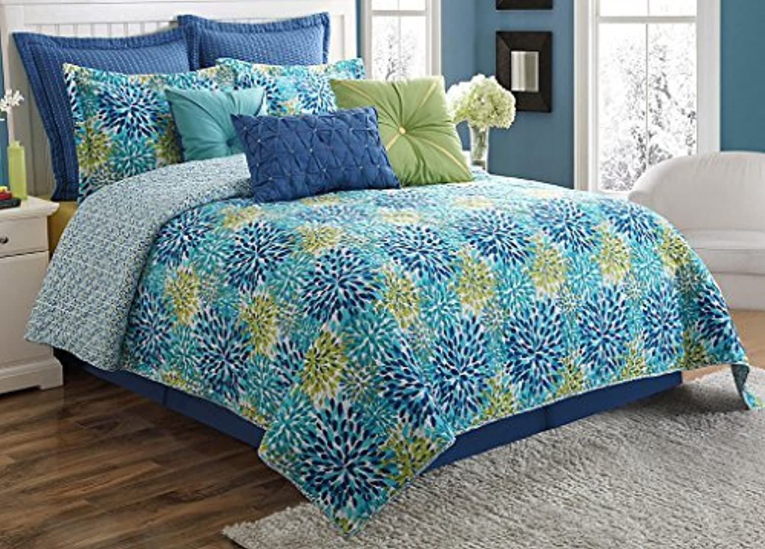 Fiesta Calypso Reversible Quilt Set-Full Queen-with 2 Pillow Shams