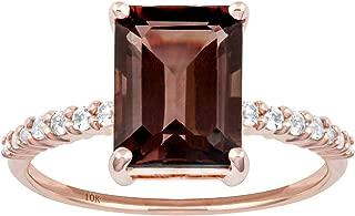 10k Rose Gold Emerald-Cut Smoky Quartz and White Topaz Ring