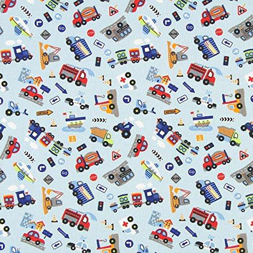 Fabulous Fabrics Baumwollstoff Autos Garage 1 hellblau — Meterware ab 0,5m — Oeko-Tex Standard 100 Produktklasse I — zum Nähen von Kissen, Taschen und Tischdecken