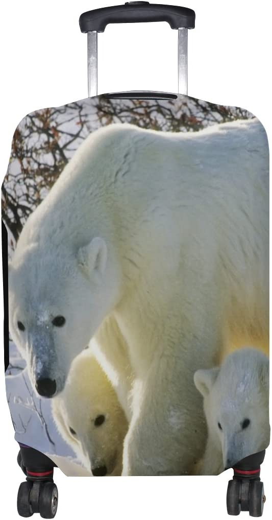 Cooper girl Polar Bear Family Travel Luggage Cover Suitcase Protector Fits 31-32 Inch
