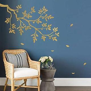 decalmile Stickers Muraux Branche d'arbre Autocollant Décoratifs Doré Feuilles Décoration Murale Salon Chambre Cuisine