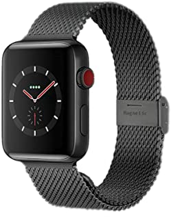 Compatible with Apple Watch Band 38MM 40MM 42MM 44MM, Stainless Steel Milanese Loop Band with Adjustable Magnetic Clasp for 2019 Watch Series 5/4/3/2/1,Black 44mm/42mm