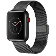 Compatible with Apple Watch Band 38MM 40MM 42MM 44MM, Stainless Steel Milanese Loop Band with...