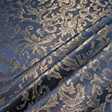 Stoff am Stück Stoff Polyester Jacquard Ornament blau gold