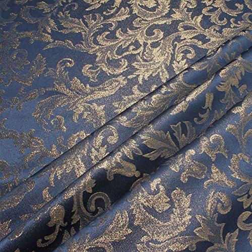 Stoff am Stück Stoff Polyester Jacquard Ornament blau gold Lurex Goldbrokat Barock Rokoko 280 cm überbreit