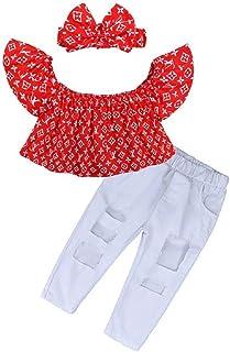 Hooyi - Juego de 3 piezas de ropa para niños con hombros descubiertos
