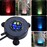 COODIA Aquarium Fish Tank Air Curtain Bubble Generator Bubble Air Stone with Multi-Color Underwater Changing LED Light (Diameter 2')