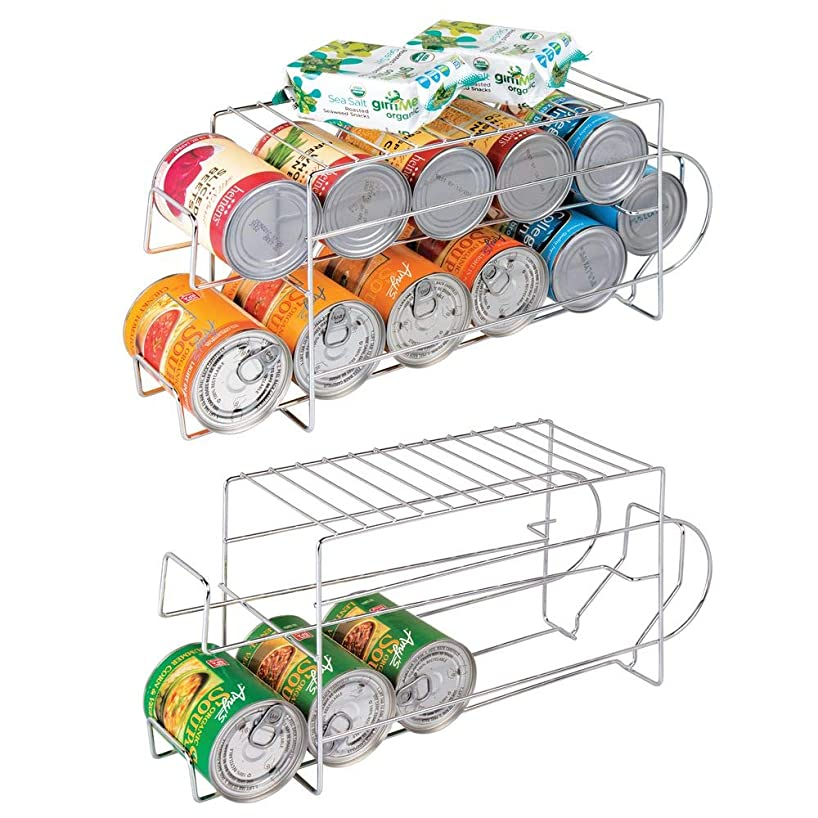 mDesign 2-Tier Metal Wire Standing Pop/Soda and Food Can Dispenser Storage Rack Organizer with Top Shelf for Kitchen Pantry, Countertop, Cabinet - Holds 12 Cans - 2 Pack - Chrome