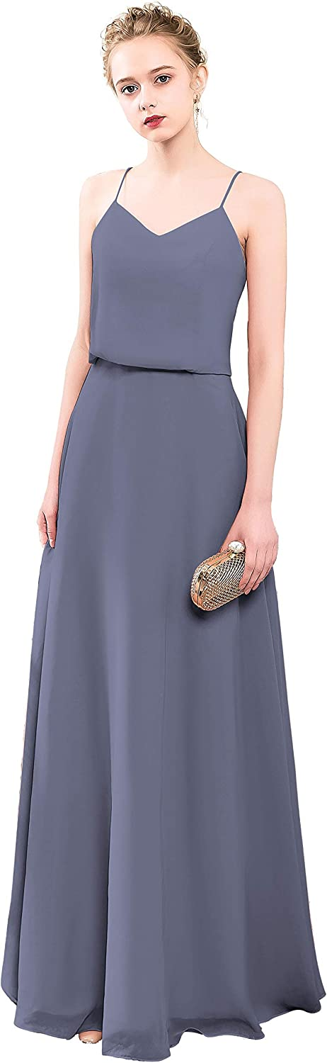 MenaliaDress Long Spaghetti Straps V Neck Summer Party Gown Bridesmaid Dress M097LF