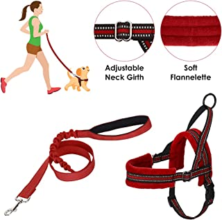 SlowTon Dog Harness and Dog Lead Set, Soft Padded Pet Vest Harness with Dog Leash Adjustable Reflective Car Harness and Bu...