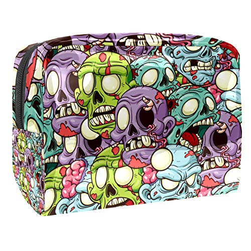 Luggage Cosmetic Cases Color skull Portable Travel Makeup Cosmetic Bags Organizer Multifunction Case Toiletry Bags for Women 7.3x3x5.1in