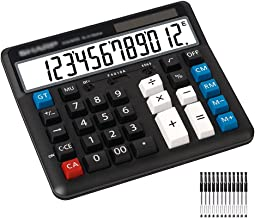 $59 » Calculator Calculator Standard Function Desktop Calculators with Large 12 Digit LCD Display and Big Button Dual Power for ...