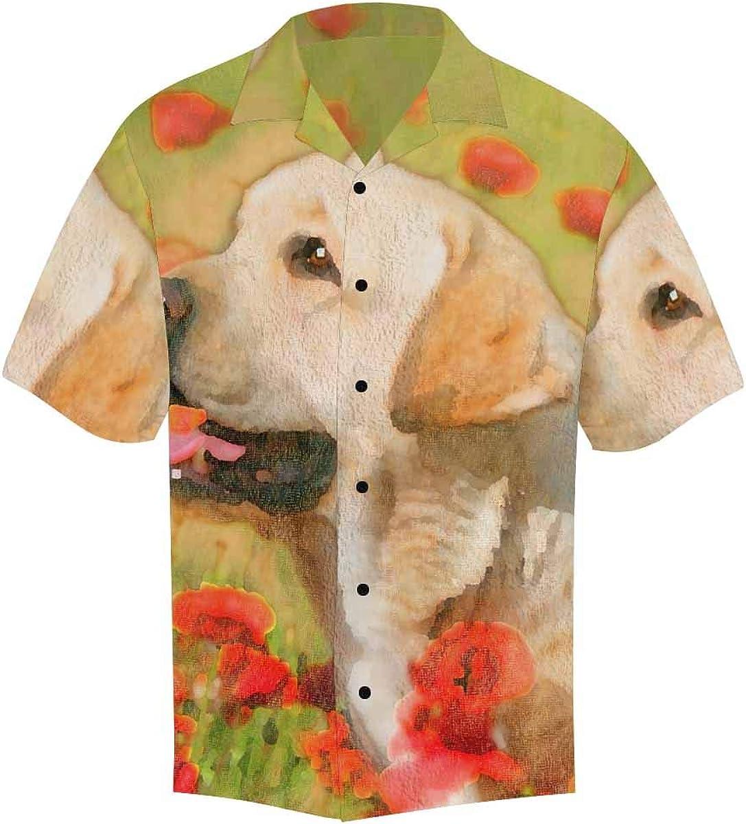 InterestPrint Men's Casual Button Down Short Sleeve Hawaiian Shirt Dog Red Poppy (S-5XL)