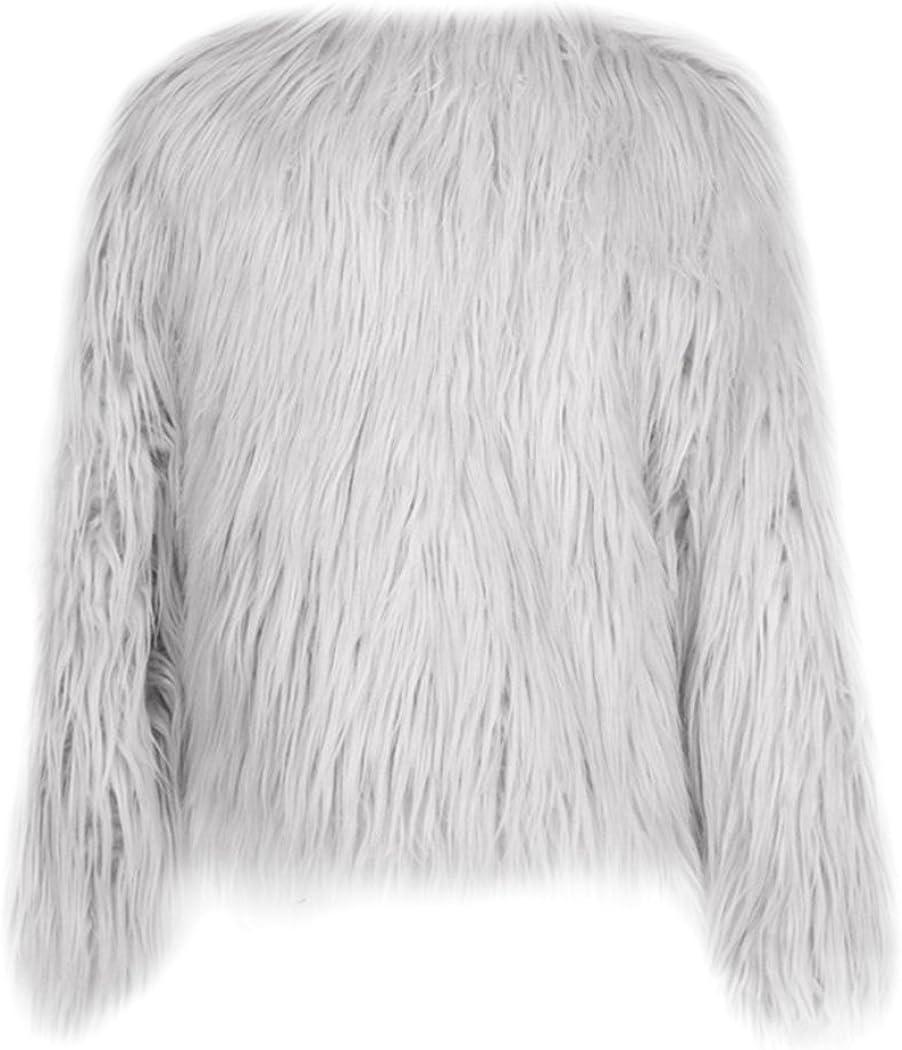 mioim Damen Jacke Faux Pelz Langarm Winter Warm Kunstfur Jacket Kurz Mantel Felljacke Tops Grau