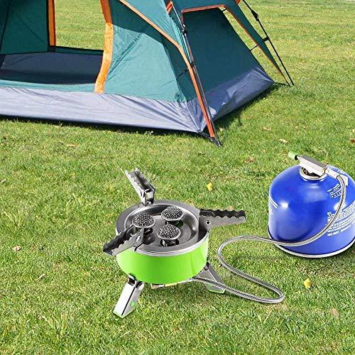 ewrwrwr Estufa de Camping - Estufa de Gas Plegable a Prueba de Viento al Aire Libre Camping Senderismo Picnic Estufa Plegable Estufa de Cocina de Acero Inoxidable Horno