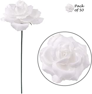 Larksilk Artificial Flowers White Roses 50 Pcs Bulk Wholesale Silk Rose Picks with Flexible 8