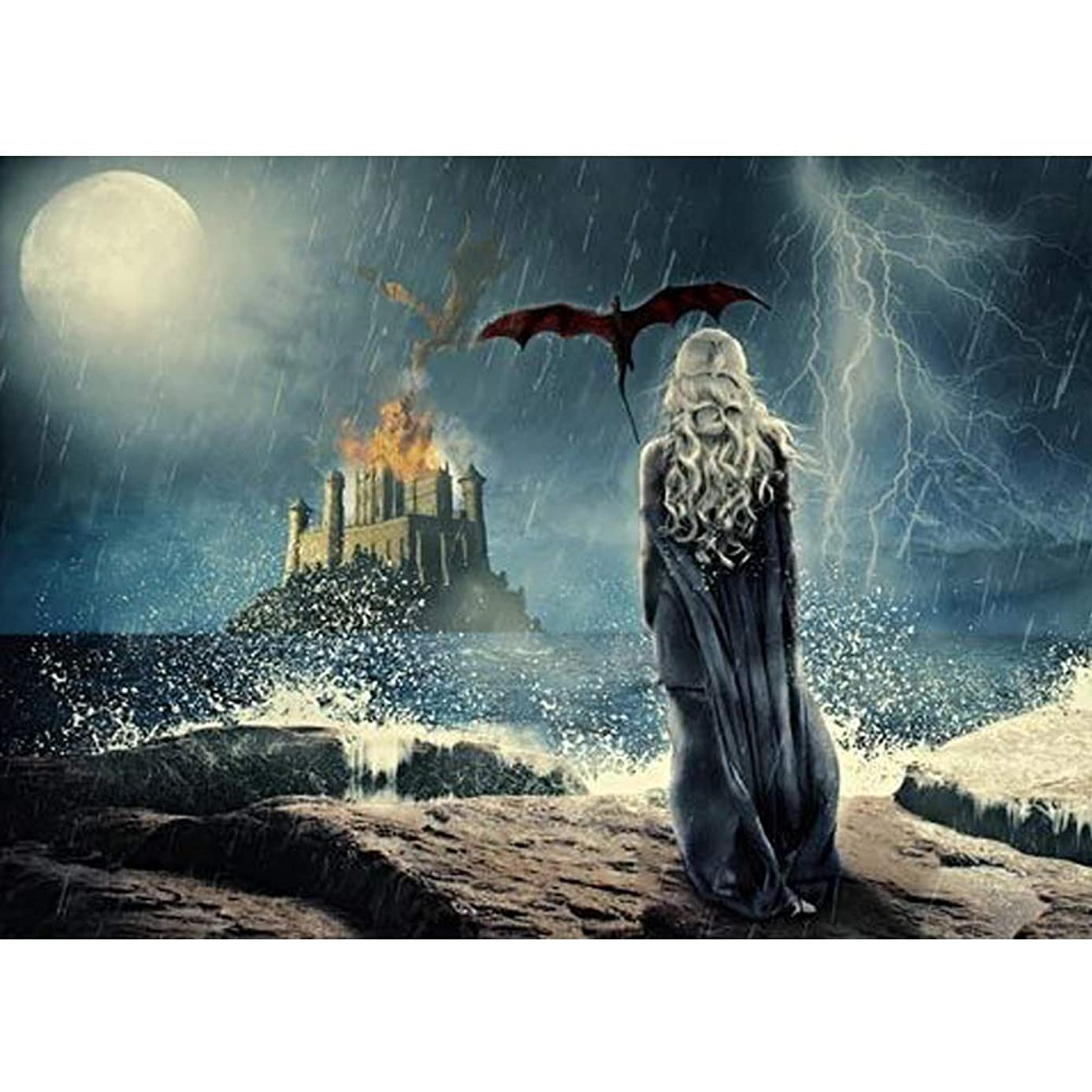 DIY 5D Diamond Painting Game of Thrones Series by Number Kits, Painting Cross Stitch Full Drill Crystal Rhinestone Embroidery Pictures Arts Craft for Home Wall Decor Gift (A, 30x40 cm) yln7666517