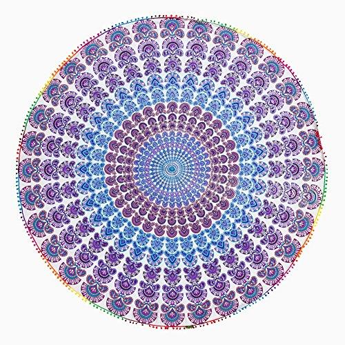 TEXTIL TARRAGO Toalla Pareo redondo 180 cm diametro 100% algodon con Pom-pom laces pavo real rojo