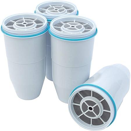 ZeroWater Lot de 4 filtres à eau de rechange pour carafe et distributeur - Sans BPA - Certifié NSF pour réduire le plomb et autres métaux lourds.