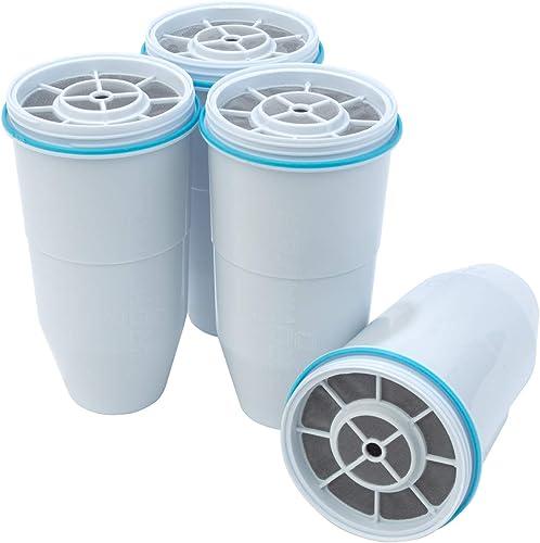 ZeroWater Lot de 4 filtres à eau de rechange pour carafe et distributeur - Sans BPA - Certifié NSF pour réduire le pl...