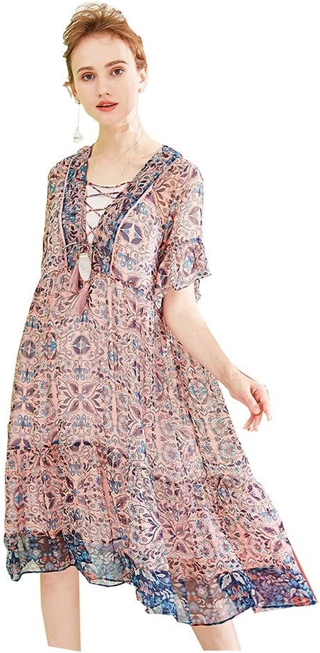 Dress Silk Print Dress Medium and Long Section Loose Silk Skirt V-Neck Pink Short Sleeve (Color : Pink, Size : M)