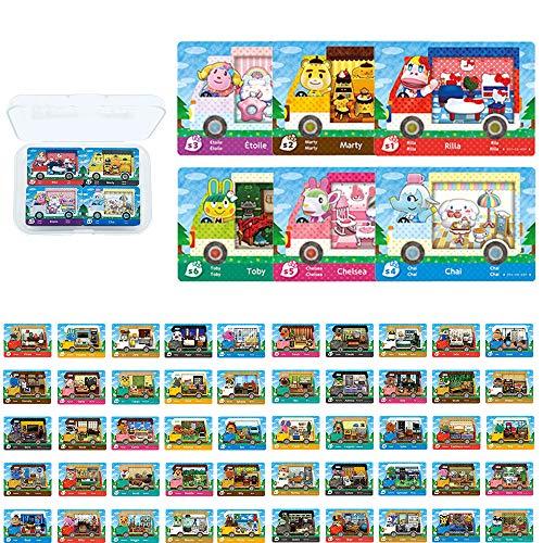 Tarjetas de juego con etiqueta NFC para Animal Crossing New Horizons Sanrio Switch / Switch Lite / Wii U con estuche de almacenamiento (6 PCS +50 PCS)