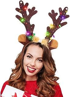 HansGo Reindeer Antlers Headband, Christmas LED Deer Antlers Headband with Bells Light Up Reindeer Ears Headband